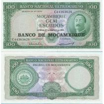 Мозамбик 100 эскудо 1976г. на 100 эскудо 1961г.