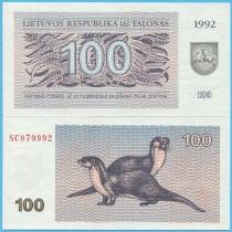 Литва бона 100 талонов 1992 год.