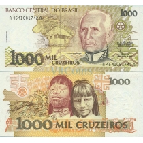 Бразилия 1000 крузейро 1990 г.