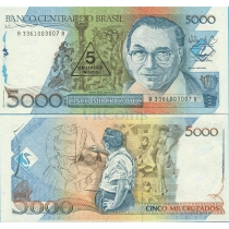 Бразилия 5 новых крузадо 1989 г. на 5000 крузадо 1988 г.