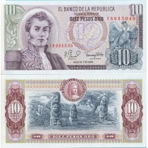 Колумбия 10 песо 1980 г.