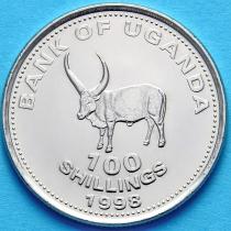 Лот 20 монет (ролл). Уганда 100 шиллингов 1998-2008 год. Бык.