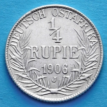 Немецкая Восточная Африка 1/4 рупии 1906 год. J. Серебро.