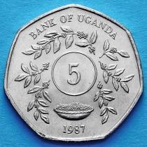 Лот 20 монет. Уганда 5 шиллингов 1987 год.