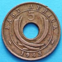 Британская Восточная Африка 5 центов 1943 год