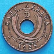 Британская Восточная Африка 5 центов 1928-1935 год.
