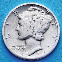 США 10 центов (дайм) 1945 год. Филадельфия. Серебро