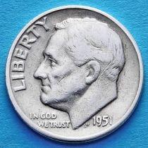 США 10 центов (дайм) 1951 год. Филадельфия. Серебро