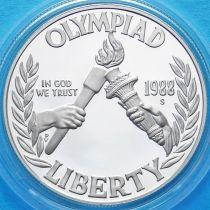 США 1 доллар 1988 год. Олимпиада в Сеуле. Серебро. Пруф.
