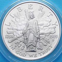 США 1 доллар 1989 год. 200 лет Конгрессу США. Серебро.