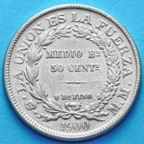 Боливия 50 сентаво 1900 год. Серебро. ММ.