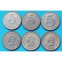 Колумбия набор 3 монеты по 5 сентаво 1886 год.