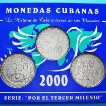 Куба набор 3 монеты 1 песо 2000 год. Миллениум.
