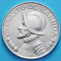 Панама 1/4 бальбоа 1947 год. Серебро.