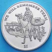 Британские Виргинские острова 1 доллар 2014 год. Память героям Первой Мировой войны
