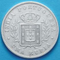 Португальская Индия 1 рупия 1882 год. Серебро. №1.