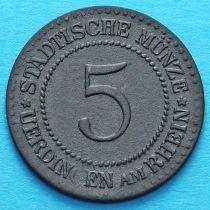 Германия 5 пфеннигов 1917 год. Нотгельд Юрдинген.