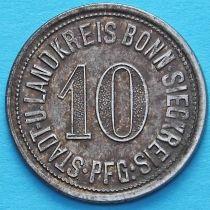 Германия 10 пфеннигов 1918 год. Нотгельд Бонн-Зиг.