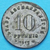 Германия 10 пфеннигов 1917 год. Нотгельд Ашаффенбург.