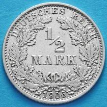 Германия 1/2 марки 1906 год. Серебро А.
