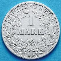 Германия 1 марка 1881 год. Серебро. А.