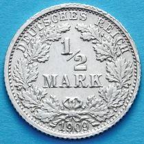 Германия 1/2 марки 1909 год. Серебро. F.