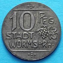 Германия 10 пфеннигов 1918 год. Нотгельд Вормс на Рейне.