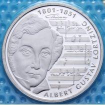 ФРГ 10 марок 2001 год. А. Альберт Лорцинг. Серебро. Пруф