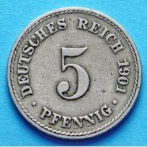 Германия 5 пфеннигов 1890-1913 год.