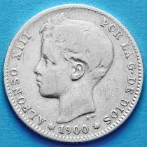 Испания 1 песета 1900 год. Альфонсо XIII. Серебро.