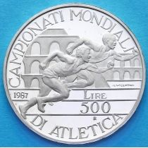 Италия 500 лир 1987 год. Чемпионат мира по лёгкой атлетике. Серебро.