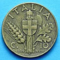 Италия 10 чентезимо 1939 - 1943 год.