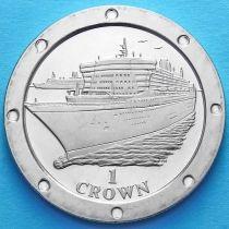 """Остров Мэн 1 крона 2004 год. Лайнер """"Королева Мария 2"""""""
