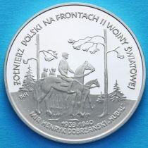 """Польша 100000 злотых 1991 год. Хенрик """"Хубаль"""" Добжаньский. Серебро."""