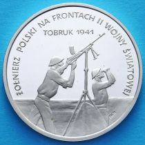 Польша 100000 злотых 1991 год. Осада Тобрука. Серебро.