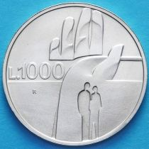 Сан Марино 1000 лир 1990 год. 1600 лет истории. Серебро.