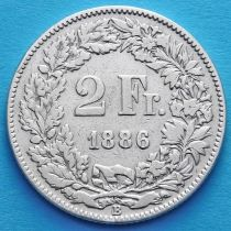 Швейцария 2 франка 1886 год. Гельвеция с копьем. Серебро