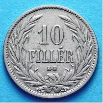 Венгрия 10 филлеров 1894-1909 год.