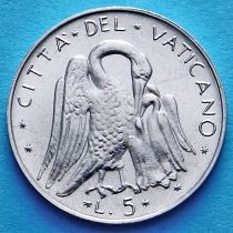 Ватикан 5 лир 1970-1977 год. Пеликан.