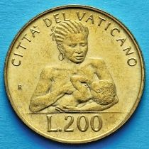 Ватикан 200 лир 1992 год. Кормящая мать.