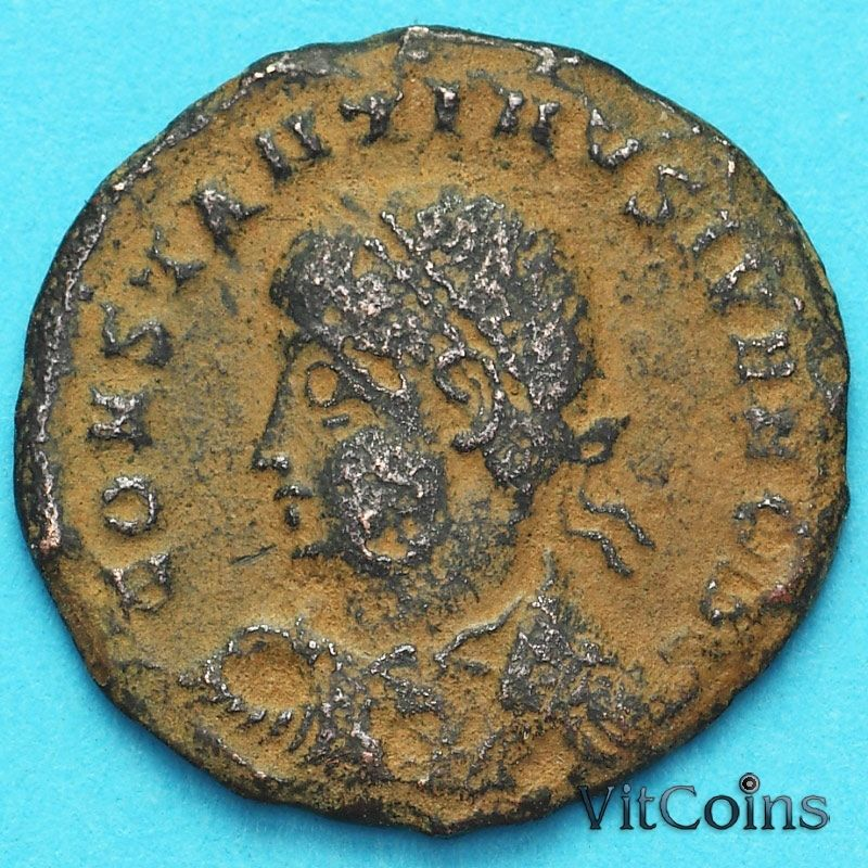 Монета Римская империя, фоллис Констанций II 324-329 год.