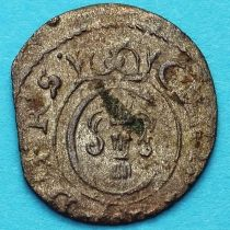 Ливония монета солид 1653 год. Рига. Кристина.