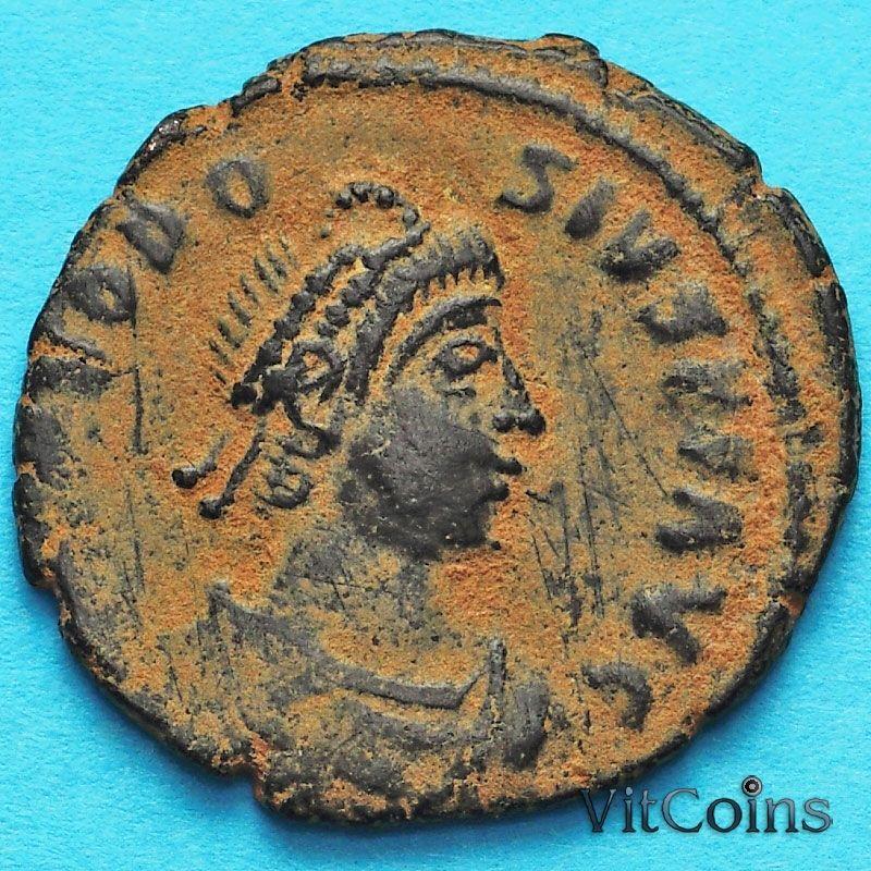 Монета Римская империя, фоллис Феодосий I 392-394 год. Константинополь.