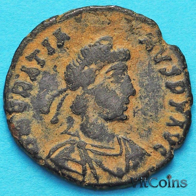 Монета Римская империя, фоллис Грациан 367-378 год. Виктория. №2