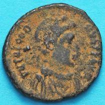 Феодосий I 392-394 год.  Римская империя, фоллис Константинополь. №2