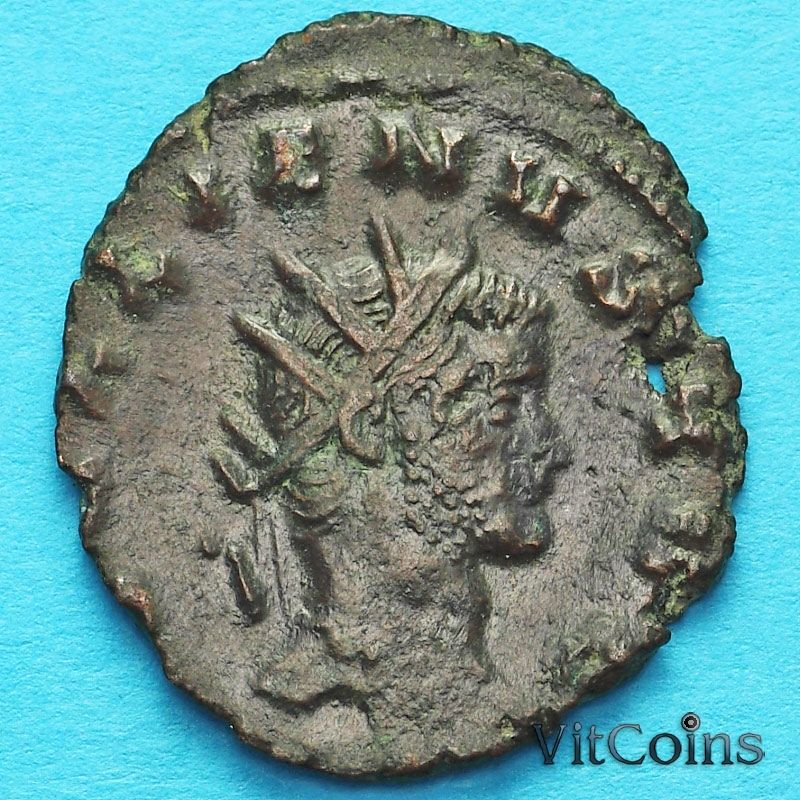 Монета Римская империя, Галлиен,  антониниан, 266-268 год. Олень №2