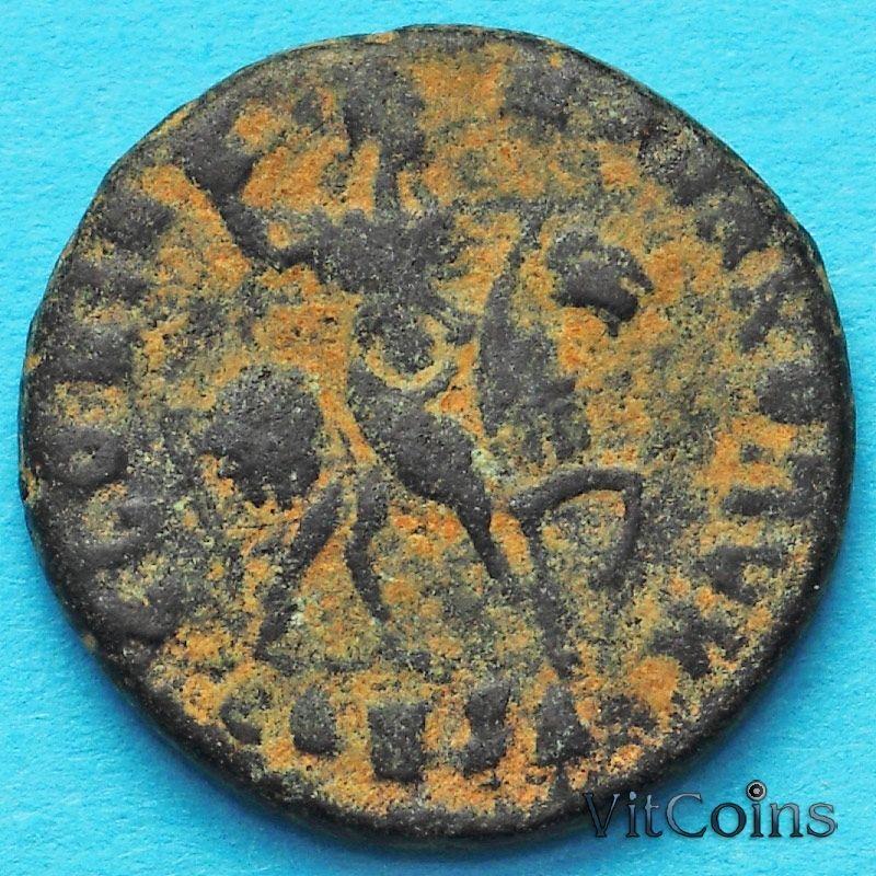 Монета Римская империя, Гонорий, фоллис 395-401 год. Император на коне.