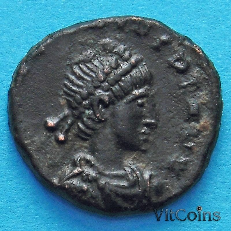 Монета Римская империя, фоллис Феодосий I 383-394 год.