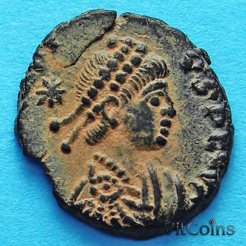 Монета Римская империя, фолис Аркадий 406-408 год.
