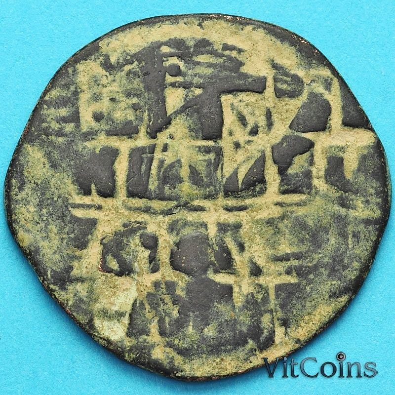 Монета Византия фоллис Василий II 976-1028 год. Перечекан.